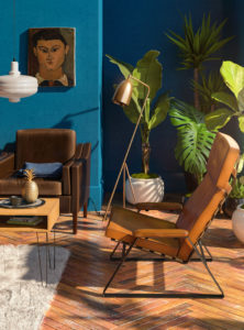 Tropical interior 3D render - living room with blue walls and wooden floor