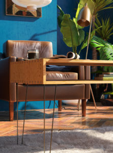 Tropical interior 3D render - living room with blue walls and wooden floor - 3D architecture visualization