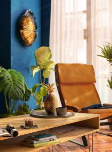 Tropical interior 3D render - living room with blue walls and wooden floor - 3D archviz
