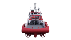 3D visualization of a vessel - red anchor handling vessel