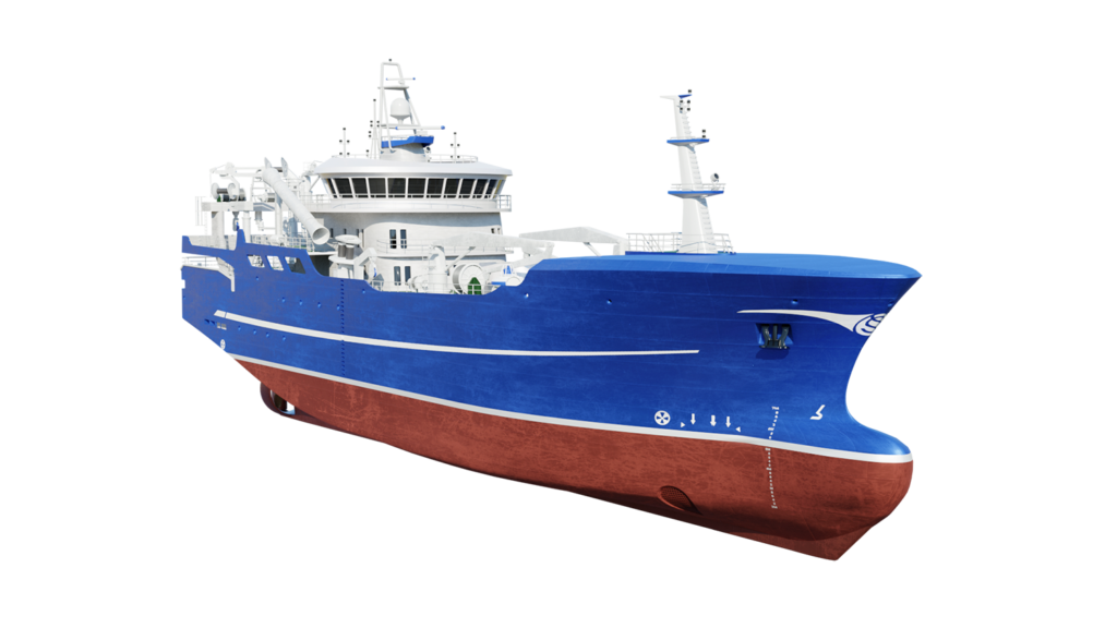 Fishing vessel design 3D visualization - purse seiner