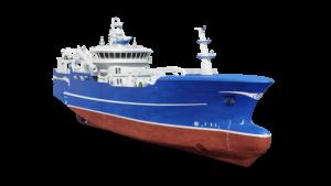 Fishing vessel design 3D visualization - purse seiner