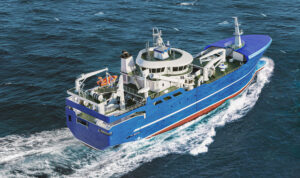 Realistic 3D model of fishing vessel, purse seiner, pelagic trawler