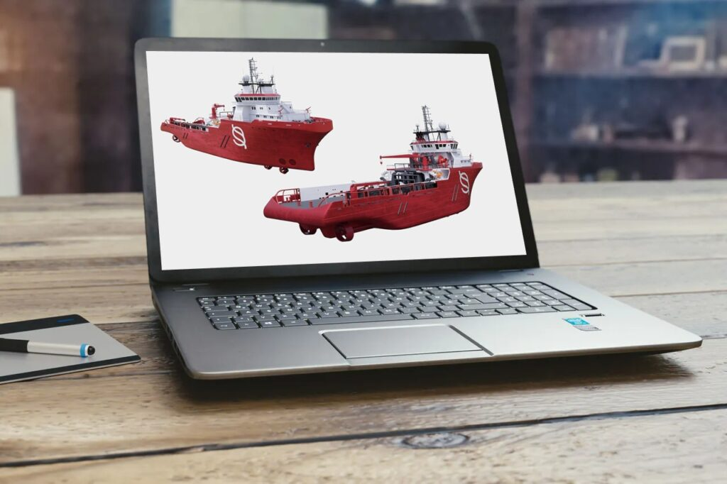 3D ship visualization on laptop