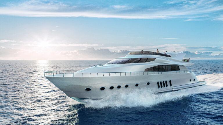 3D yacht rendering modeling