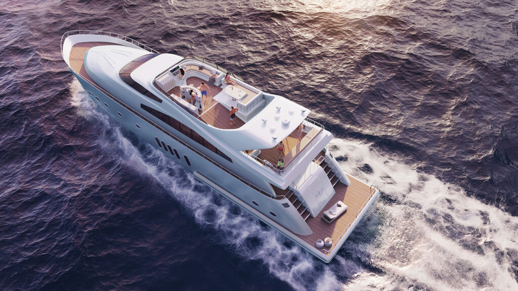 Sunset yacht design visualization