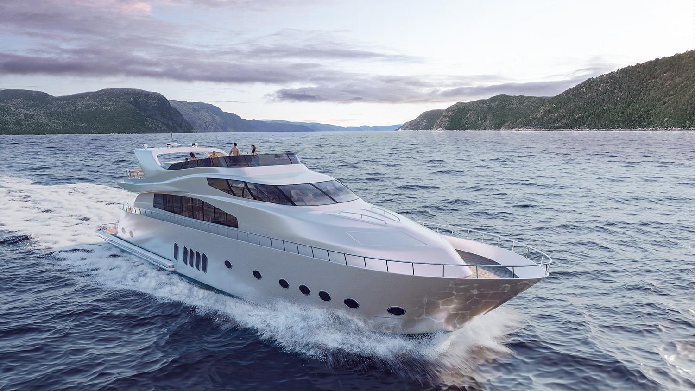 Photorealistic yacht 3D visualization render