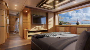 3D Yacht Interior Visualization - bedroom with wooden finishings