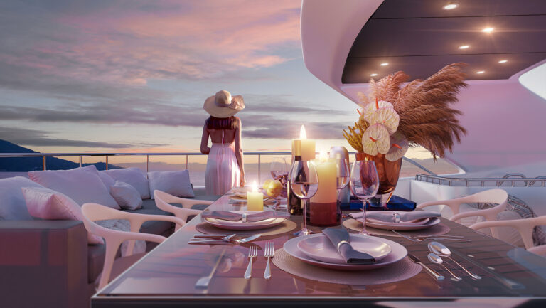 Yacht Sun Deck 3D Rendering with evening table and a woman