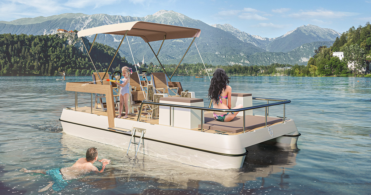 Modern paddle boat design - Serenity550 Fitness