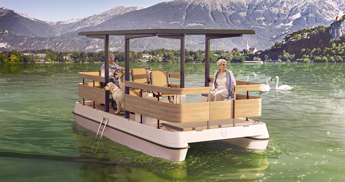 Electric paddle boat 3D visualization: Serenity550R Fitness