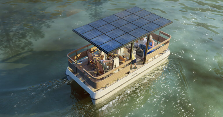 Electric boat with solar panels 3D visualization - Serenity550R Fitness