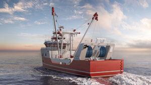 Fishing vessel 3D model visualization rendering