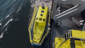 3D visualization - yellow daughter craft model on the sea