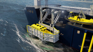3D rendering - offshore ship on the sea