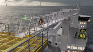 3D animation - marine gangway opeartion - an offshore vessel on the sea