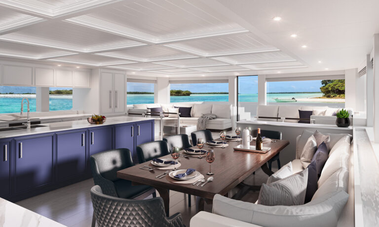 3D yacht interior visualization - white kitchen and dining room with navy blue kitchen fronts