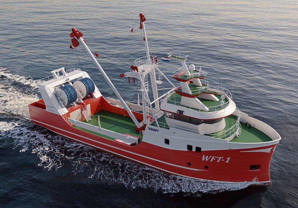 3D fishing vessel rendering on ocean water