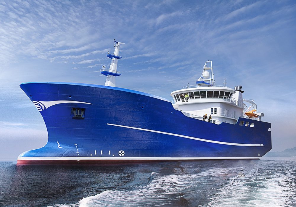 Photorealistic 3D visualization of a fishing vessel - purse seiner / pelagic trawler with a blue hull and white superstructure